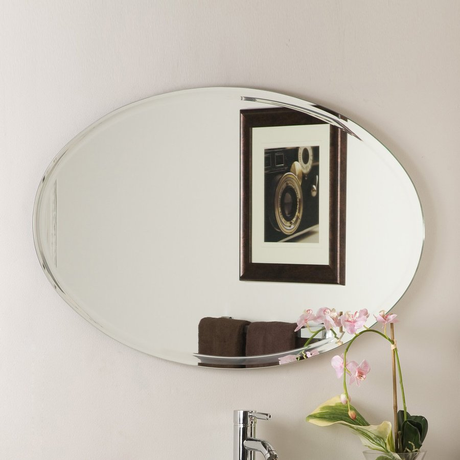 Decor Wonderland 39.4-in W x 23.6-in H Oval Frameless Bathroom Mirror with Hardware