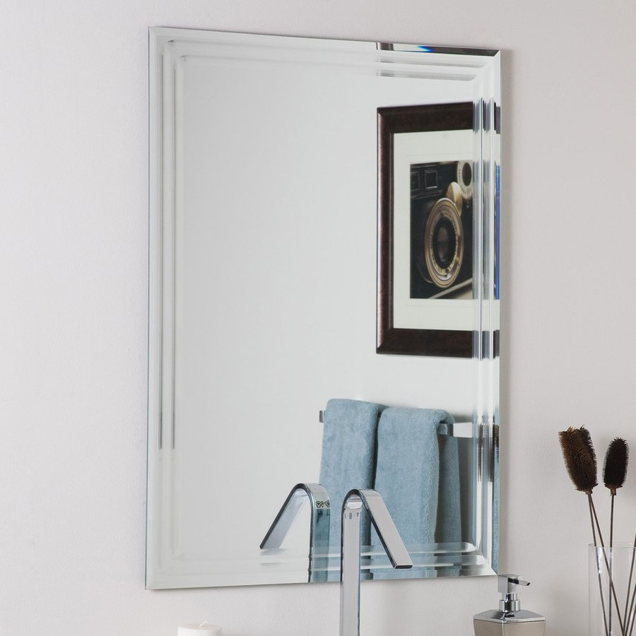 decor wonderland 236 in w x 315 in h rectangular frameless bathroom mirror with