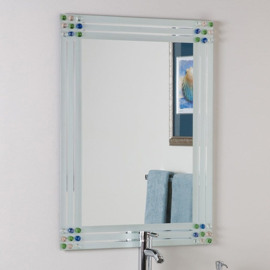 Decor Wonderland 31.5-in W x 23.6-in H Rectangular Frameless Bathroom Mirror with Hardware and V-Groove Edges