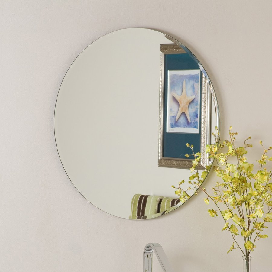 Shop decor wonderland 23 6 in x 23 6 in round frameless Round framed mirror