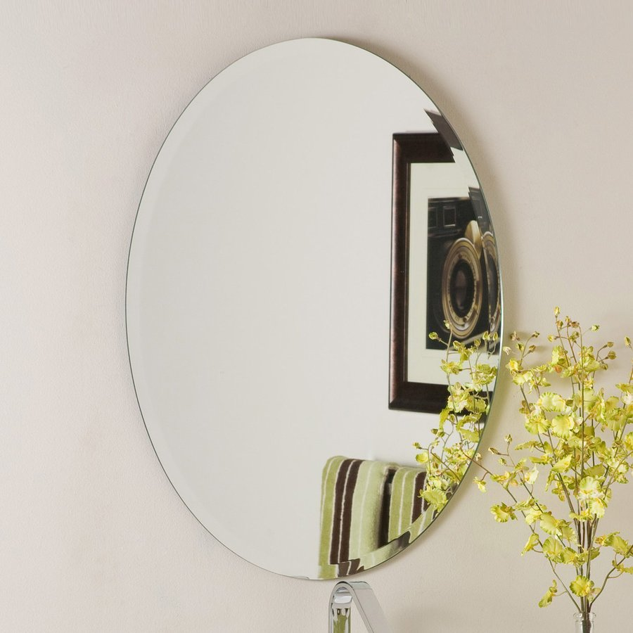 Shop decor wonderland odelia 22 in x 28 in oval frameless for Decorative wall mirrors for bathrooms