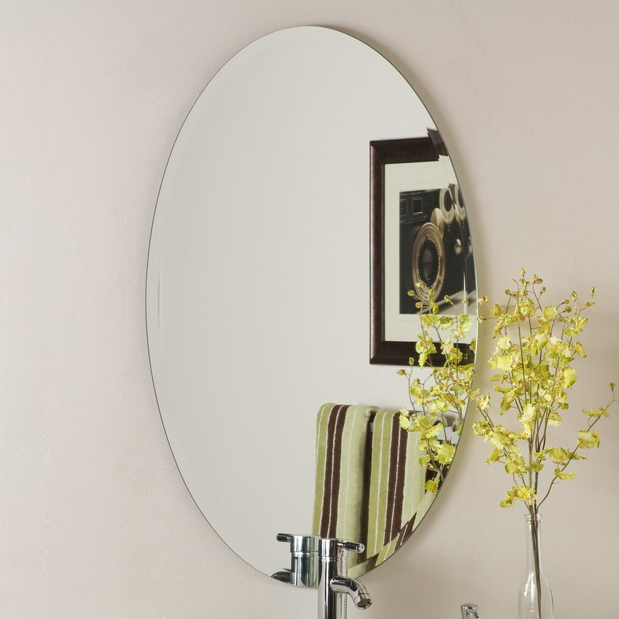 Decor Wonderland 24-in W x 36-in H Oval Frameless Bathroom Mirror with Hardware and Beveled Edges