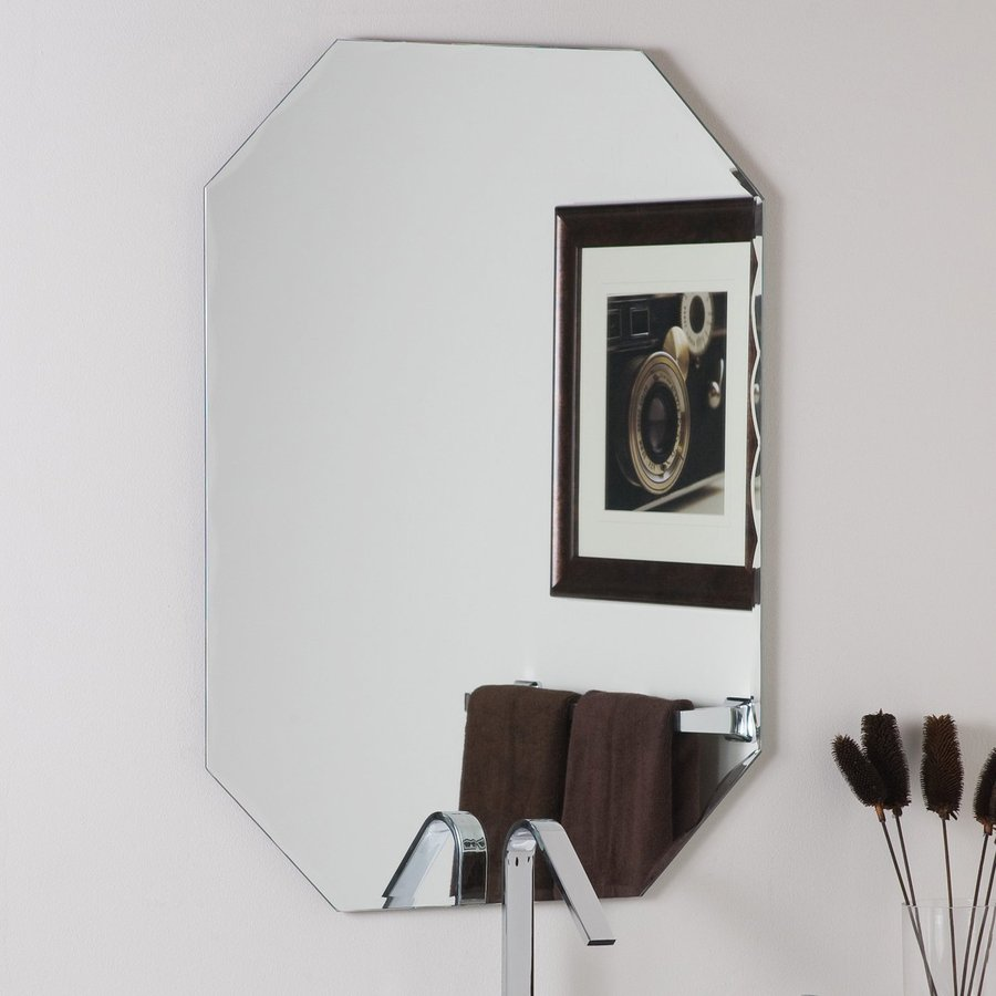Decor Wonderland 23.6-in W x 31.5-in H Octagonal Frameless Bathroom Mirror with Hardware and Beveled Edges
