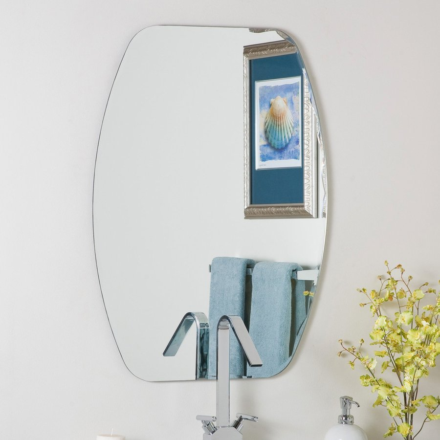 Decor Wonderland 23.6-in W x 31.5-in H Oval Frameless Bathroom Mirror with Hardware and Beveled Edges