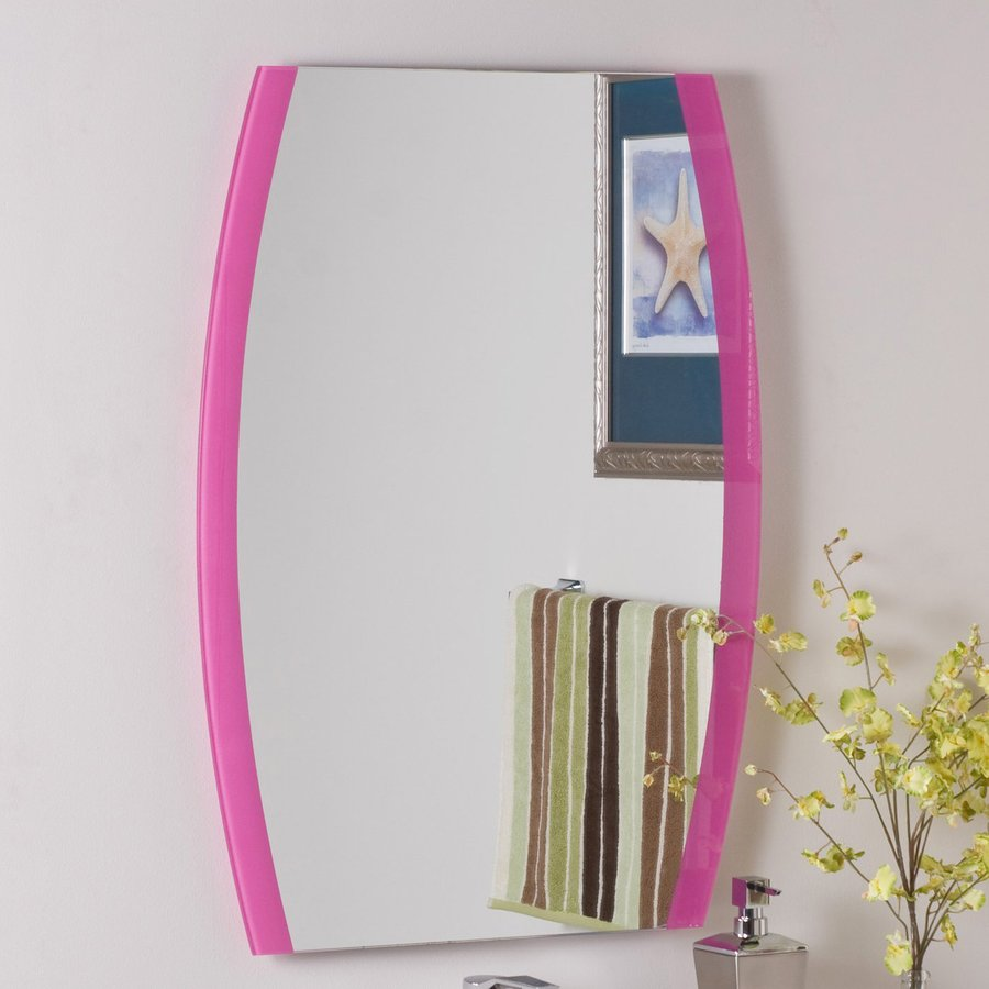 Decor Wonderland Paula's Pink 23.6-in x 31.5-in Pink Oval Framed Bathroom Mirror