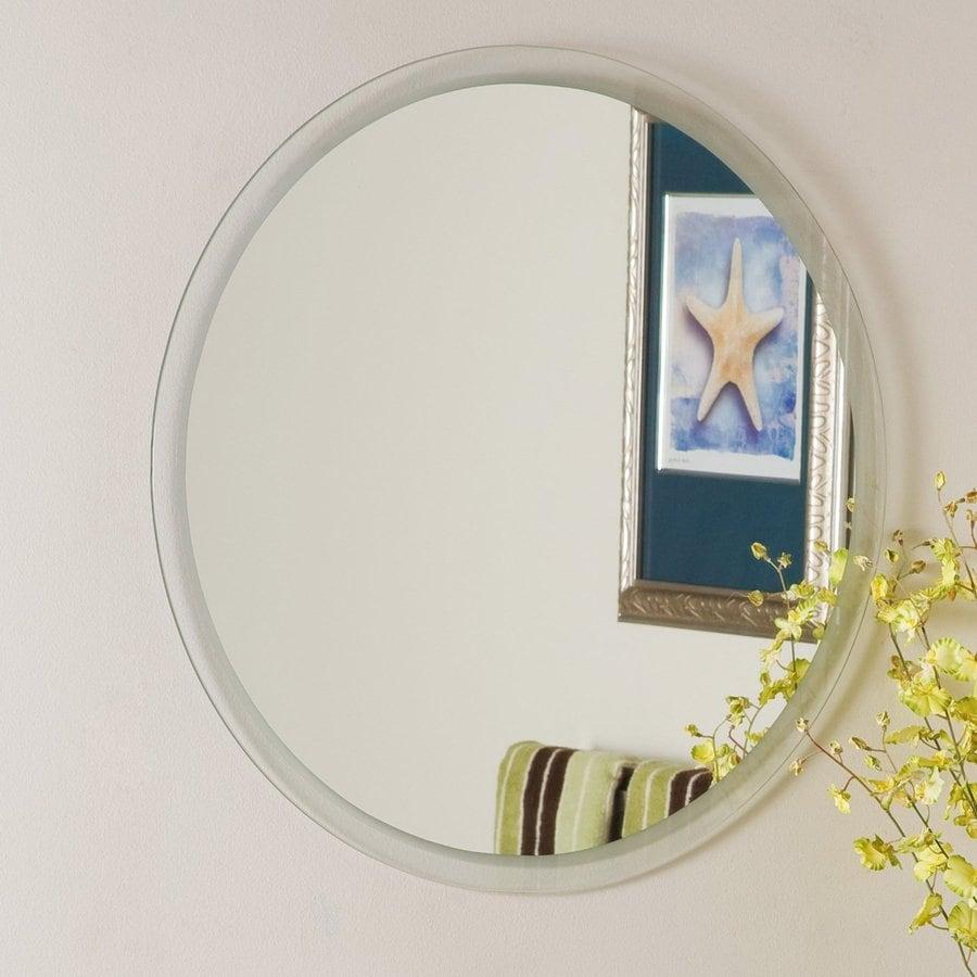 Decor Wonderland 23.6-in W x 23.6-in H Round Frameless Bathroom Mirror with Hardware and Beveled Edges