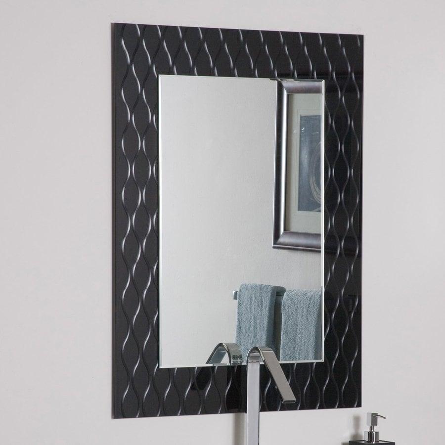 Decor Wonderland 23.6-in W x 31.5-in H Rectangular Frameless Bathroom Mirror with Hardware and V-Groove Edges