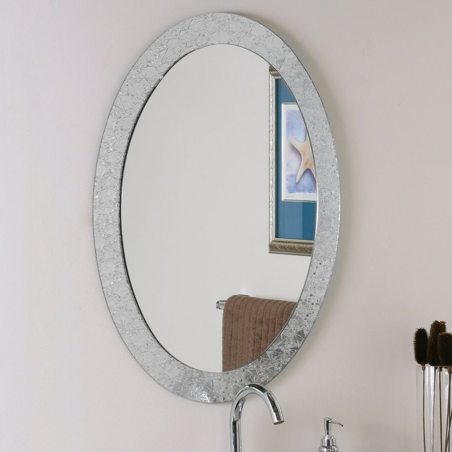 Oval mirrors for bathrooms - Decor Wonderland Crystal 23 6 In X 31 5 In Clear Oval Framed Bathroom Mirror
