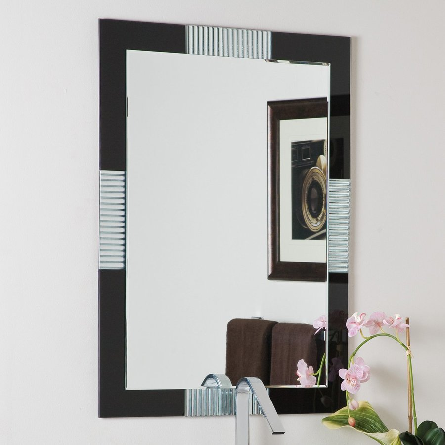 Decor Wonderland Francisco 23.6-in x 31.5-in Black Rectangular Framed Bathroom Mirror