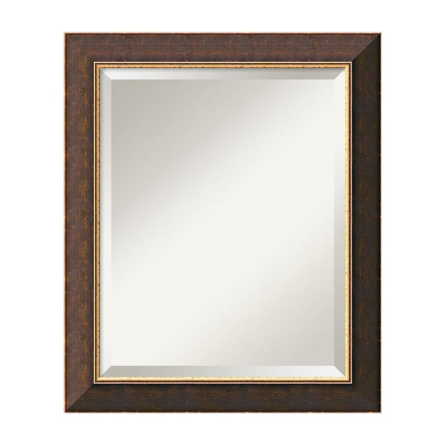 Amanti Art Old World 20-in x 24-in Gilded Dark Brown and Antique Gold Beveled Rectangle Framed Wall Mirror