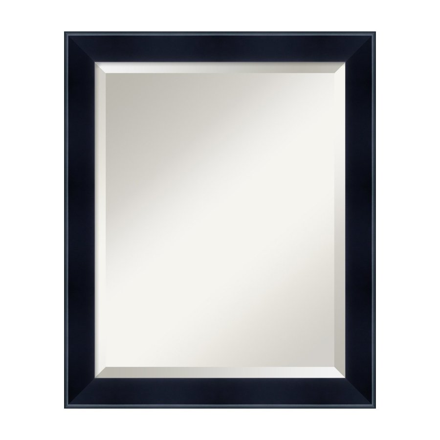 Amanti Art Madison 19.11-in x 23.11-in Satin Black Beveled Rectangular Framed Wall Mirror