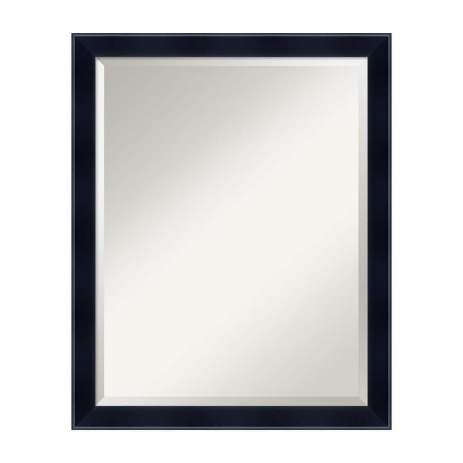 Amanti Art Madison Satin Black Beveled Wall Mirror