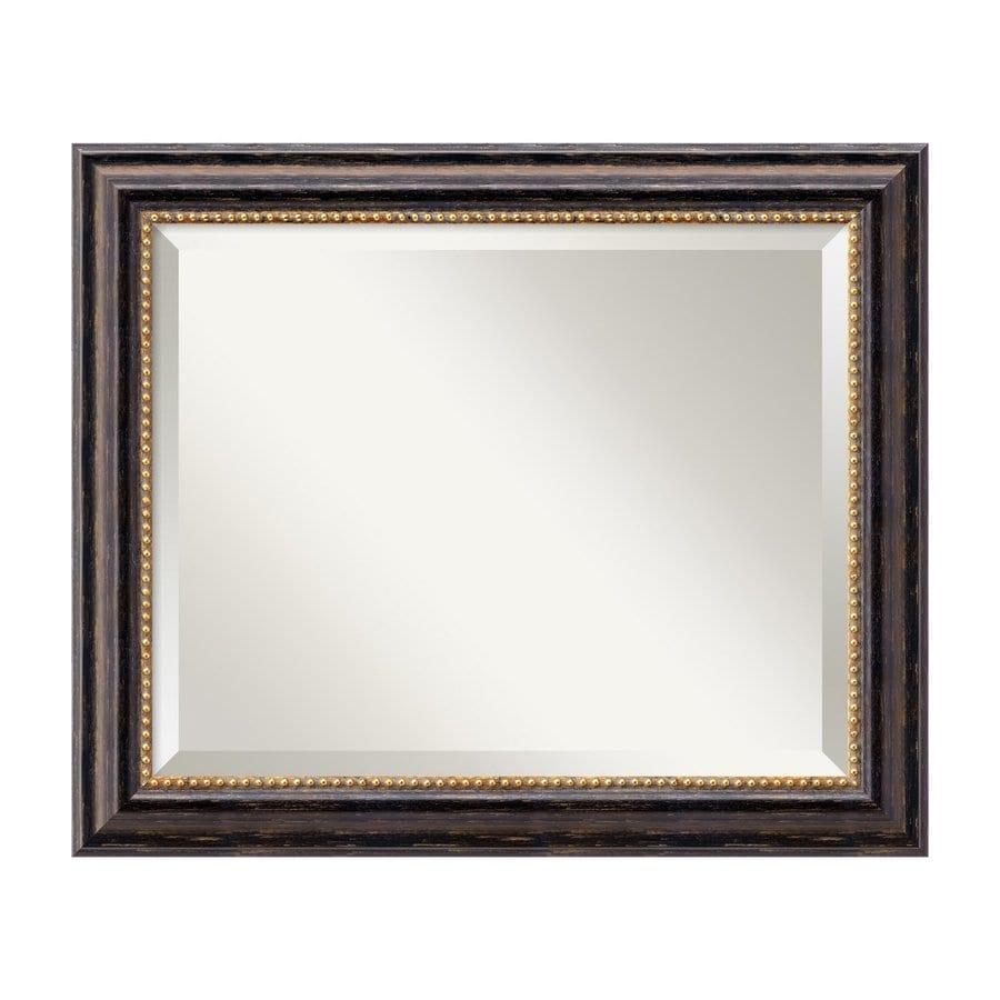 Amanti Art Tuscan Rustic 23.97-in x 19.97-in Distressed Black Beveled Rectangular Framed Traditional Wall Mirror