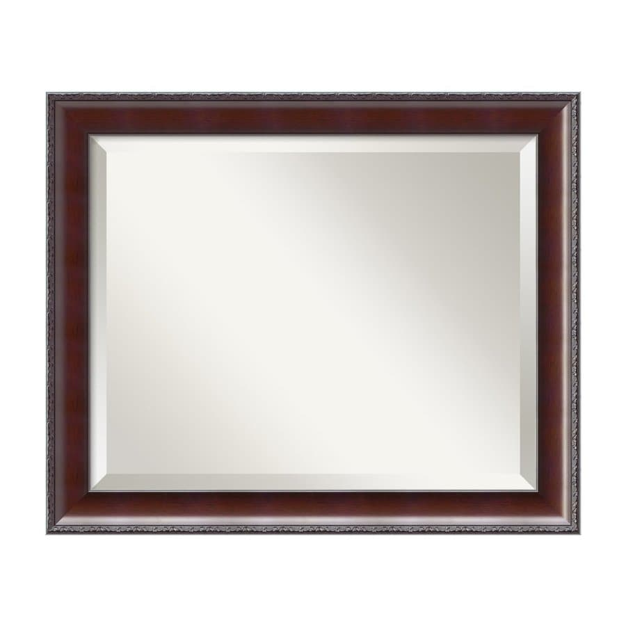 Amanti Art Country Walnut Beveled Wall Mirror