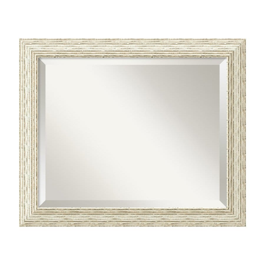 Amanti Art Cape Cod 23.5-in x 19.5-in Rustic Whitewash Beveled Rectangular Framed Wall Mirror