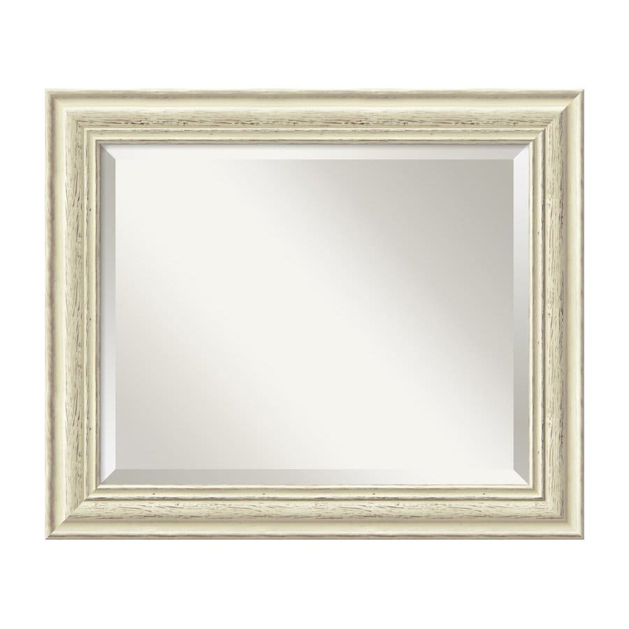 Amanti Art Country Whitewash 24.38-in x 20.38-in Rustic Whitewash Beveled Rectangular Framed Wall Mirror
