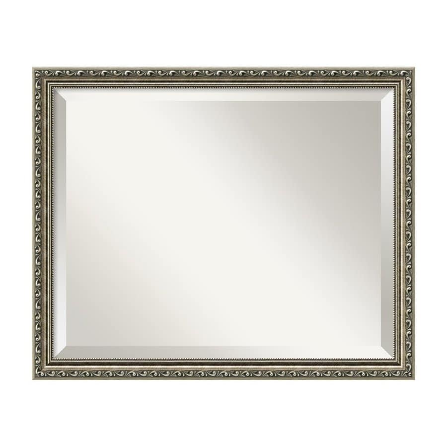 Amanti Art Parisian Antique Silver Beveled Wall Mirror