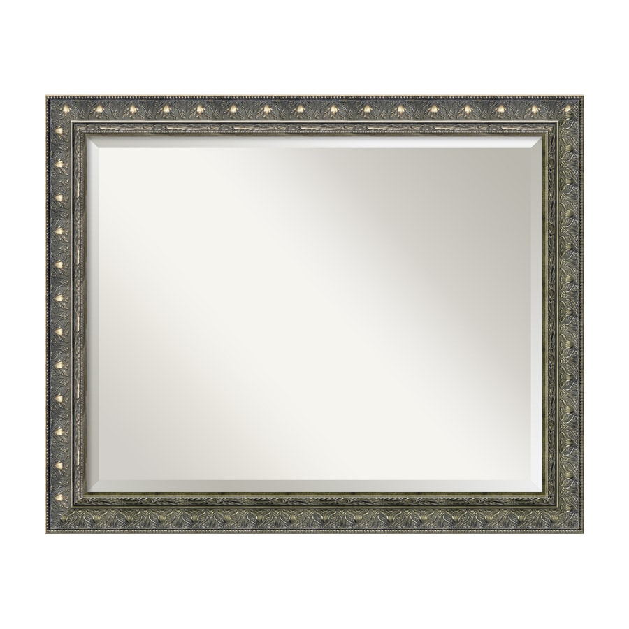 Amanti Art Barcelona 32.34-in x 26.34-in Champagne Beveled Rectangular Framed Traditional Wall Mirror