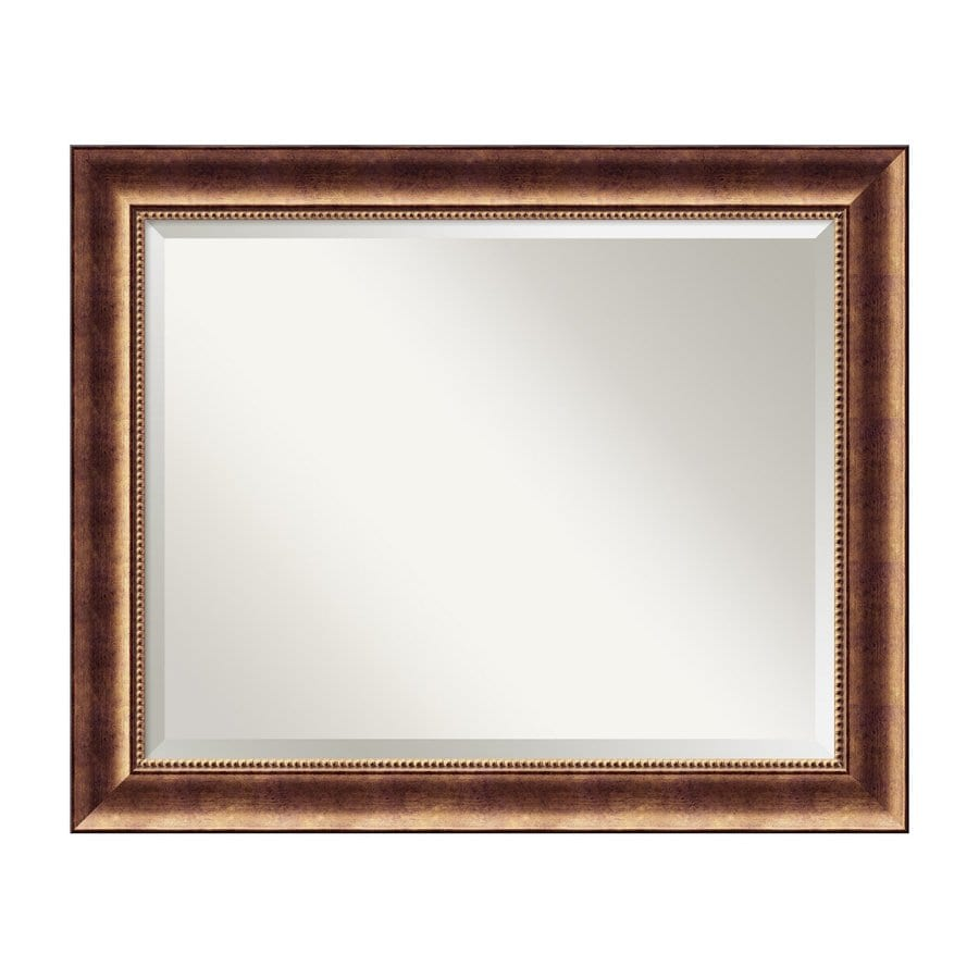 Amanti Art Manhattan 33.5-in x 27.5-in Burnished Bronze Beveled Rectangle Framed Wall Mirror