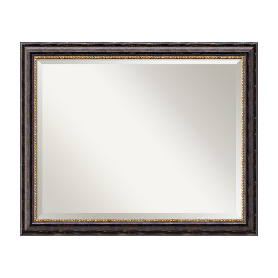 Shop amanti art tuscan rustic distressed black beveled for Rustic mirror