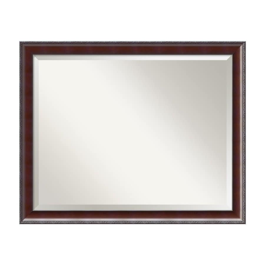 Amanti Art Country 31.37-in x 25.37-in Walnut Beveled Rectangular Framed Wall Mirror