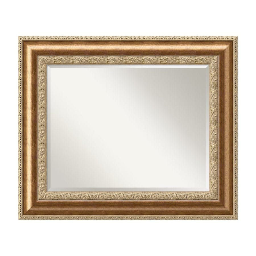 Amanti Art Vienna 36.7-in x 30.7-in Antique Burnished Bronze Beveled Rectangular Framed Traditional Wall Mirror