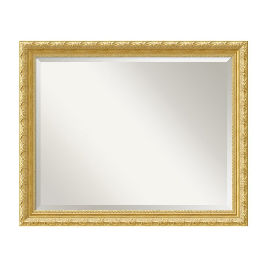 Amanti Art Versailles 31.84-in x 25.84-in Gold Beveled Rectangle Framed Wall Mirror