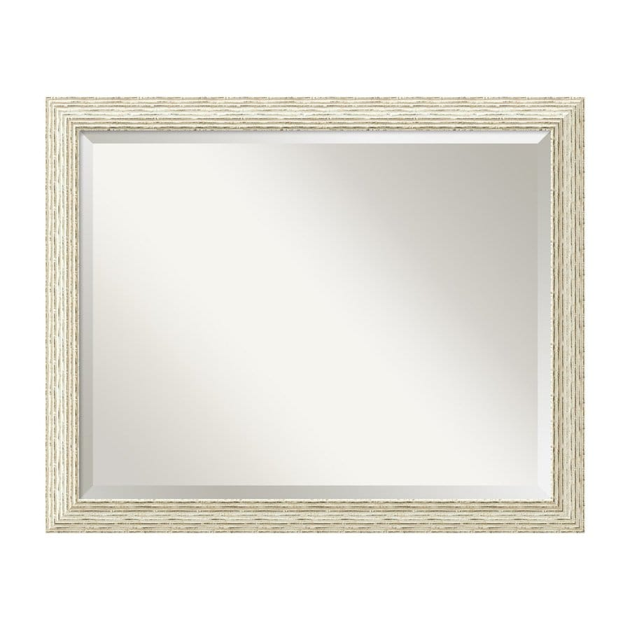 Amanti Art Cape Cod 31.5-in x 25.5-in Ribbed Rustic Whitewash Beveled Rectangular Framed Wall Mirror