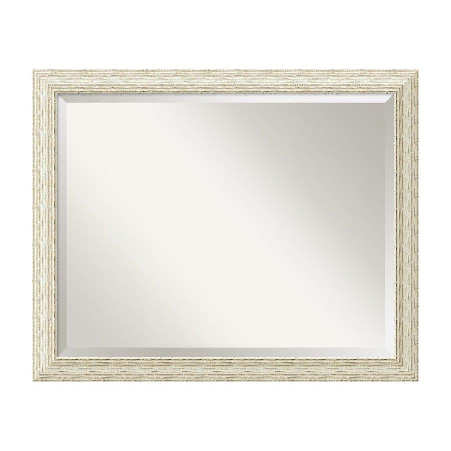 Amanti Art Cape Cod Ribbed Rustic Whitewash Beveled Wall Mirror