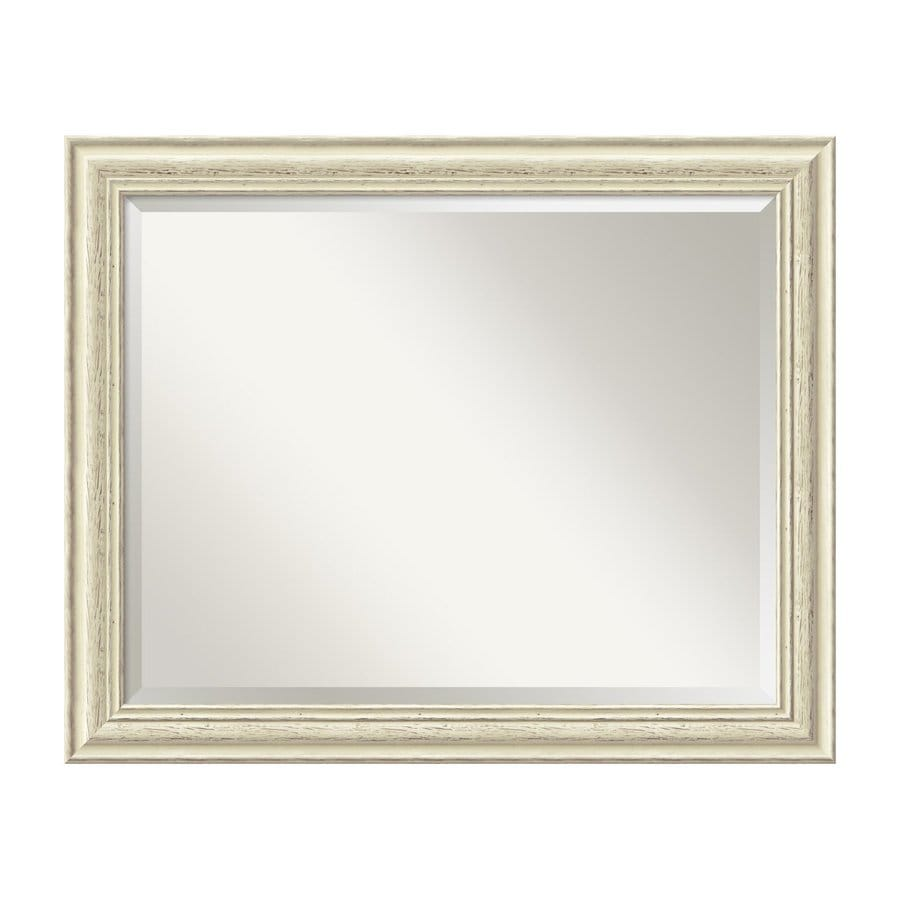 Amanti Art Country Whitewash 32.38-in x 26.38-in Rustic Whitewash Beveled Rectangular Framed Wall Mirror