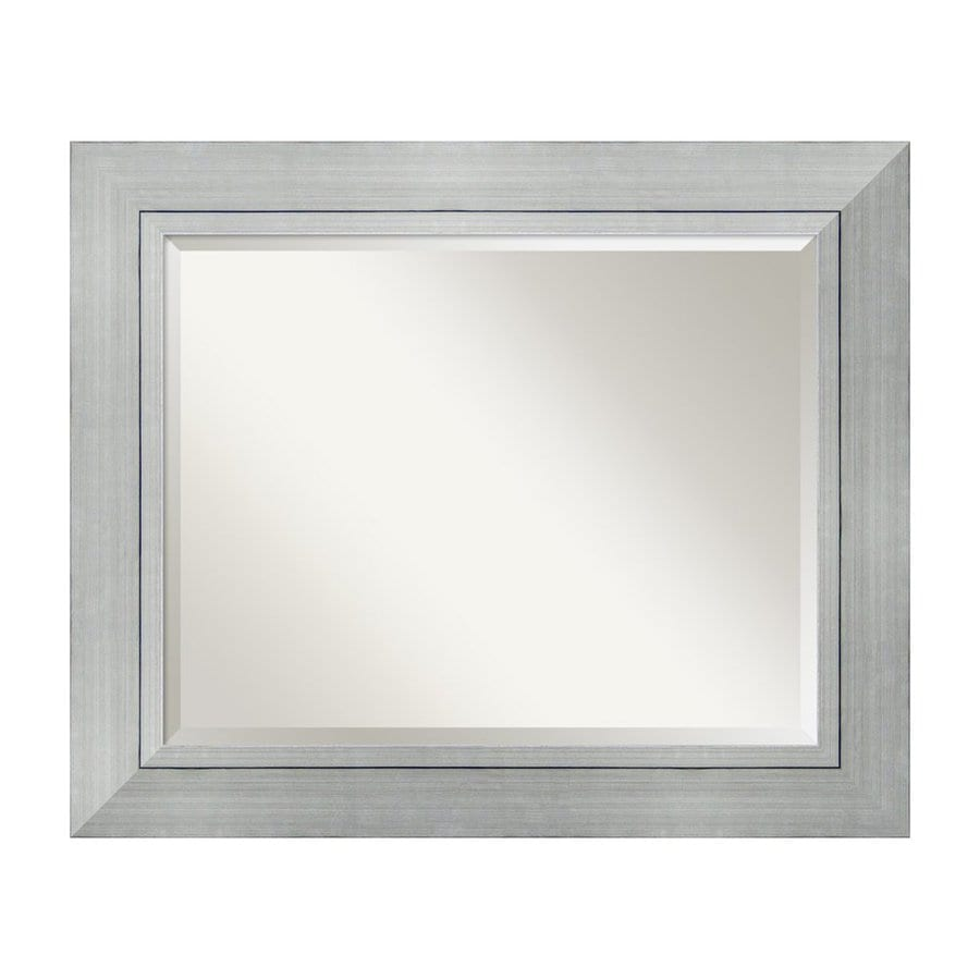 Amanti Art Romano 35.25-in x 29.25-in Burnished Silver Beveled Rectangle Framed Wall Mirror