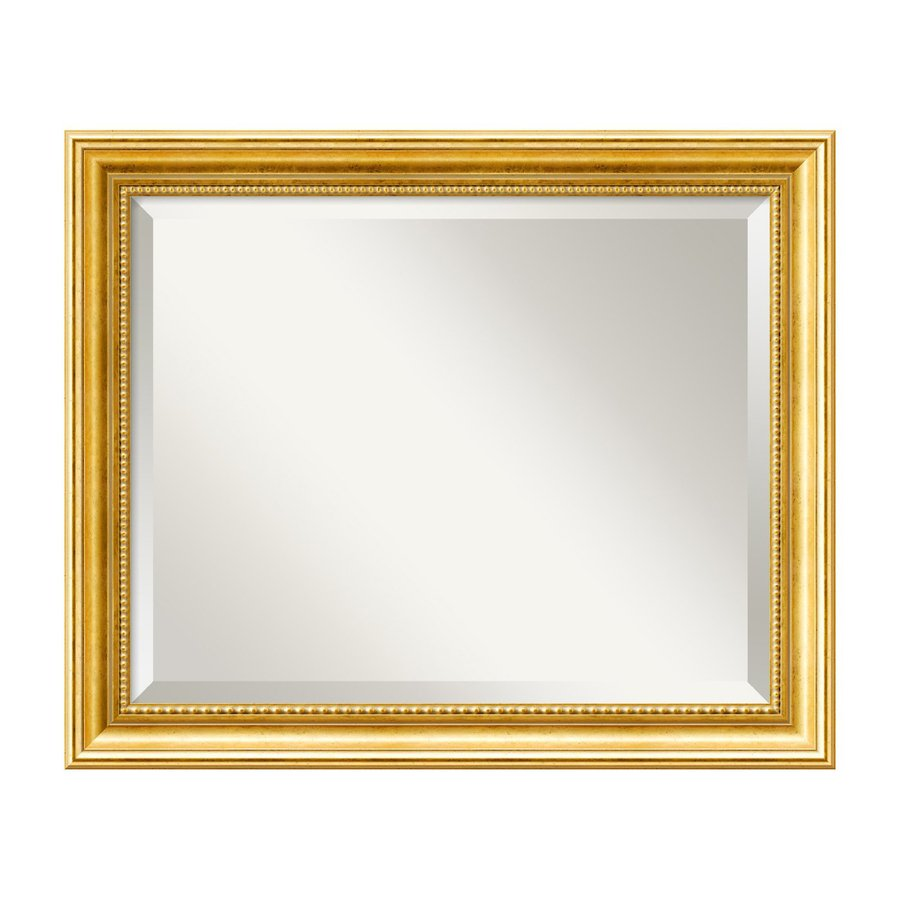 Amanti Art Townhouse 23.38-in x 19.38-in Gold Beveled Rectangular Framed Wall Mirror