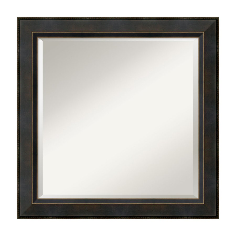 Amanti Art Signore 24.41-in x 24.41-in Angled Dark Bronze Beveled Square Framed Wall Mirror
