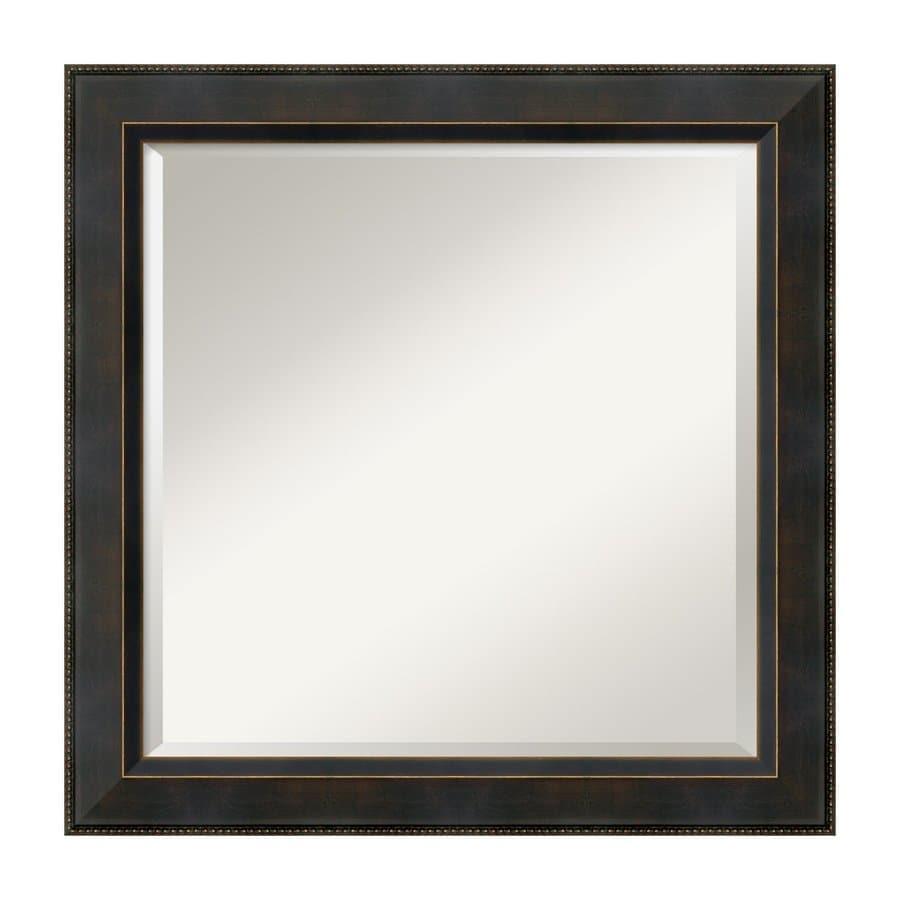 Amanti Art Signore Angled Dark Bronze Beveled Square Wall Mirror