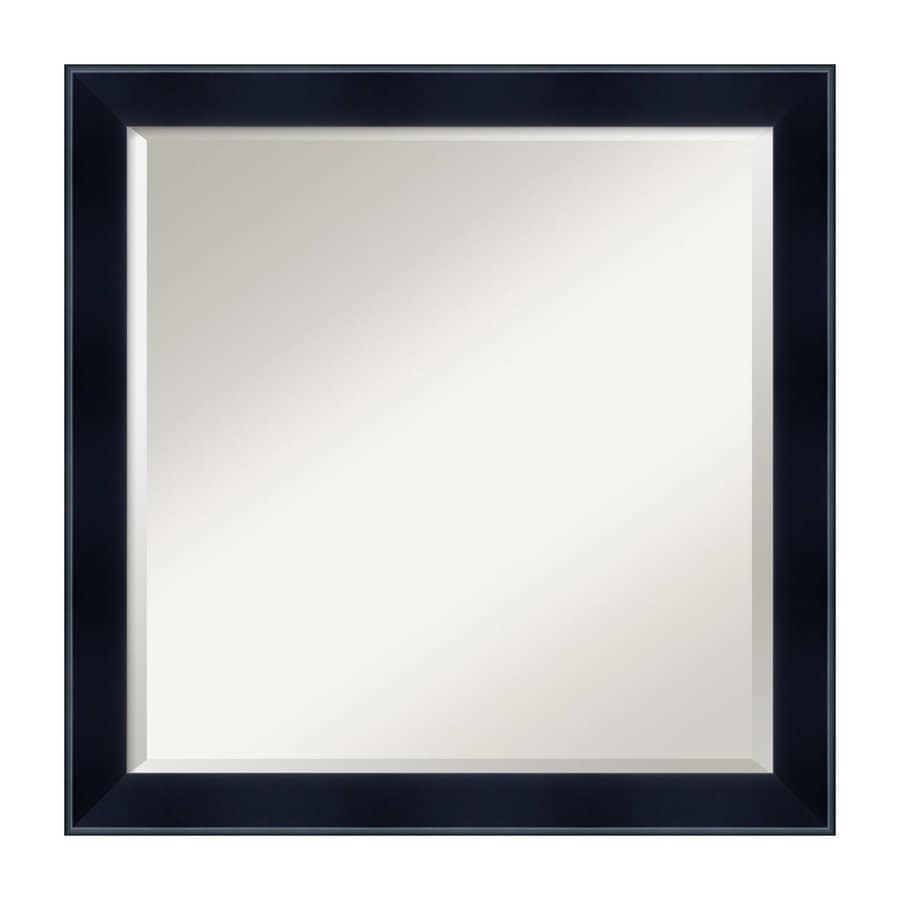 Shop amanti art madison satin black beveled square wall for 16 in x 60 in beveled door mirror