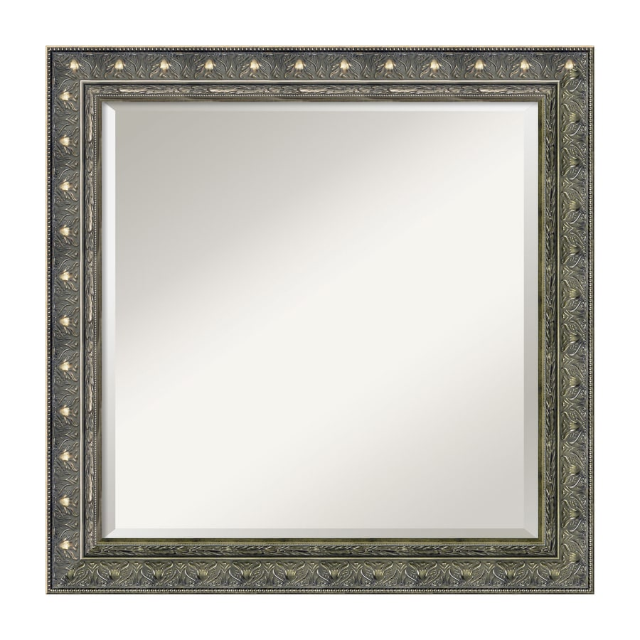 Amanti Art Barcelona 24.34-in x 24.34-in Champagne Beveled Square Framed Traditional Wall Mirror