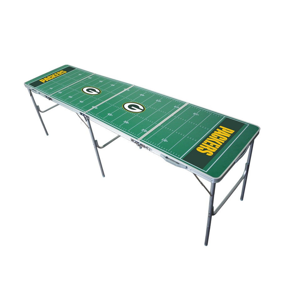 Wild Sports 96-in x 24-in Rectangle Cast Aluminum Green Bay Packers Folding Table