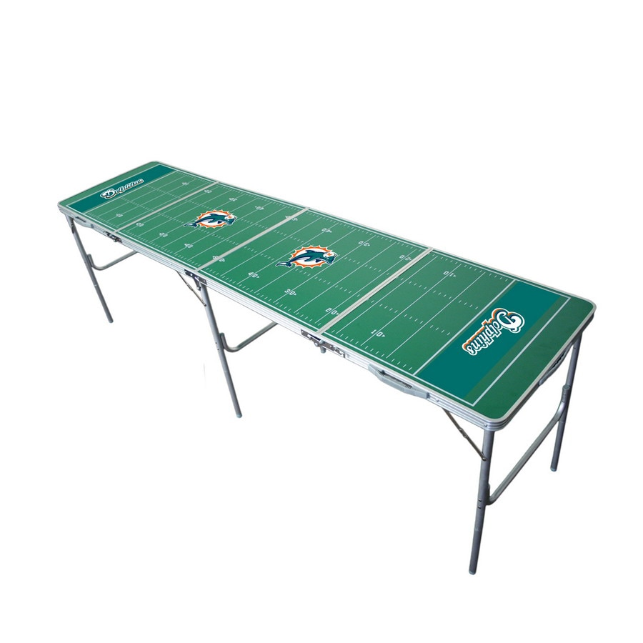 Wild Sports 96-in x 24-in Rectangle Cast Aluminum Miami Dolphins Folding Table