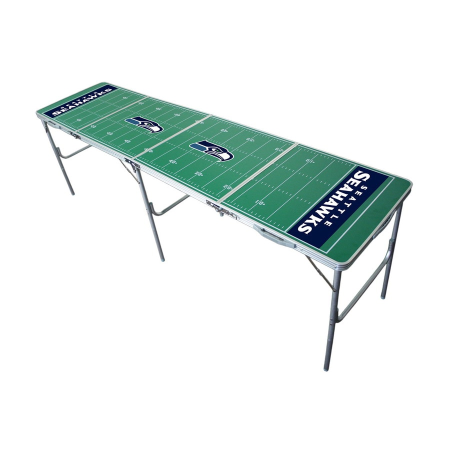 Wild Sports 96-in x 24-in Rectangle Cast Aluminum Seattle Seahawks Folding Table