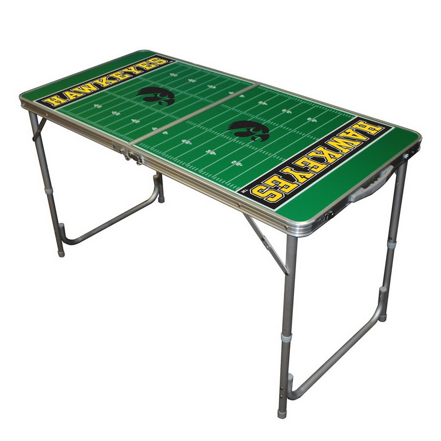 Wild Sports 48-in x 24-in Rectangle Cast Aluminum Iowa Hawkeyes Folding Table