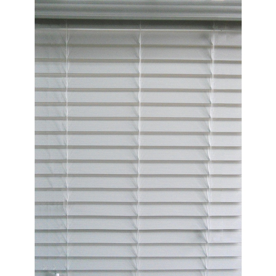 Shop allen roth 2 5 in cordless white faux wood room for 2 faux wood window blinds