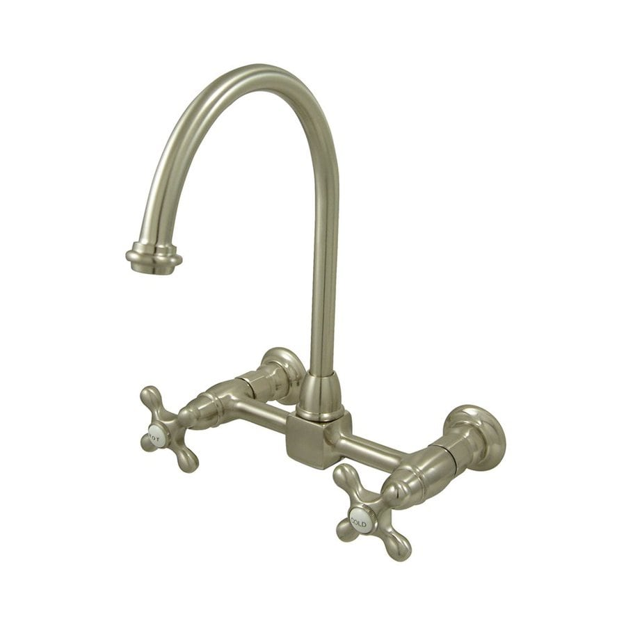 Elements of Design Satin Nickel 2-Handle High-Arc Wall Mount Kitchen Faucet