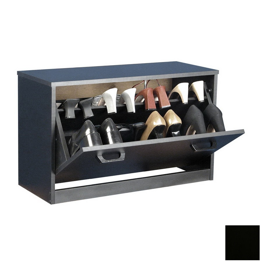 Venture Horizon Black Wood Shoe Storage