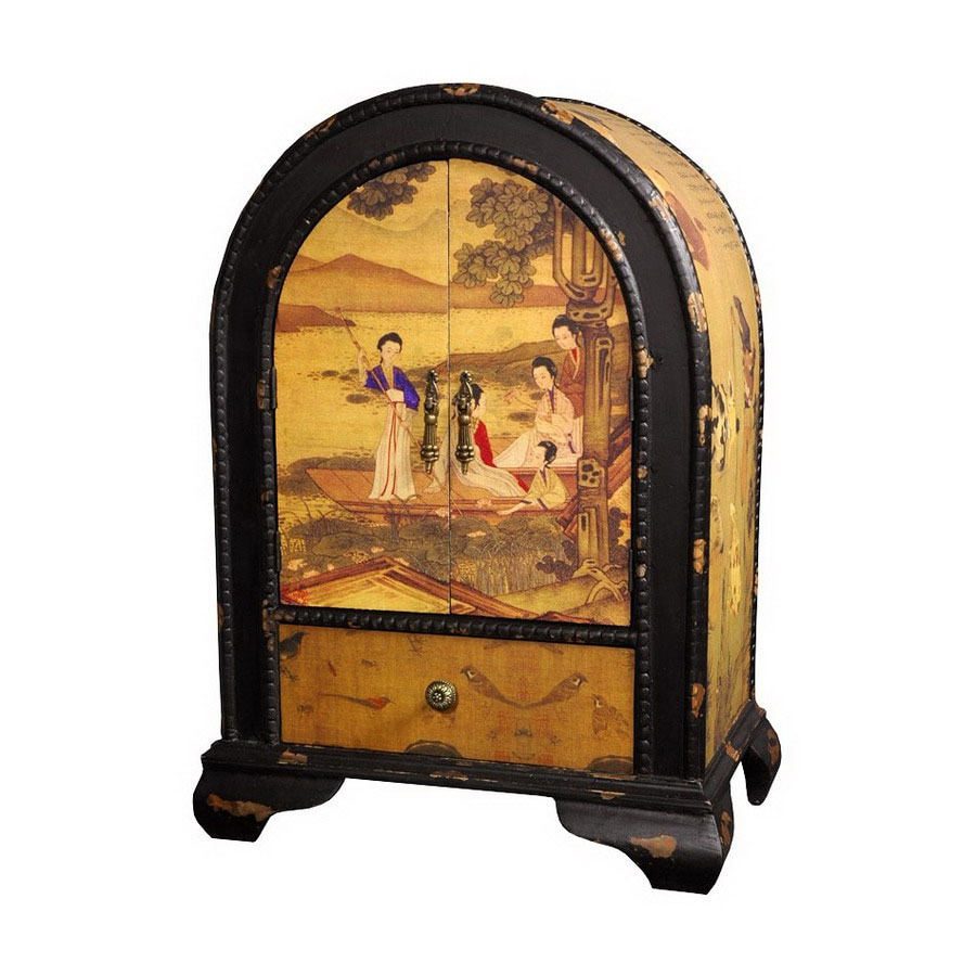 Oriental Furniture Chinese Art Design Red/Black Matte Floorstanding Jewelry  Armoire