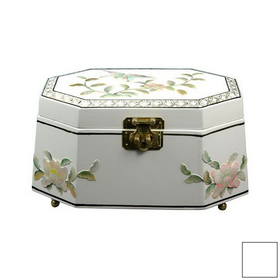 Oriental Furniture Antoinette White Tabletop Jewelry Armoire