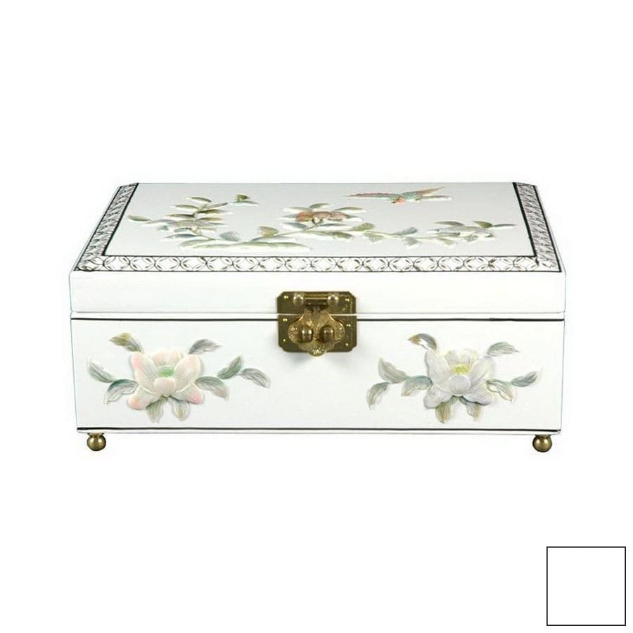 Oriental Furniture Clementina White Tabletop Jewelry Armoire