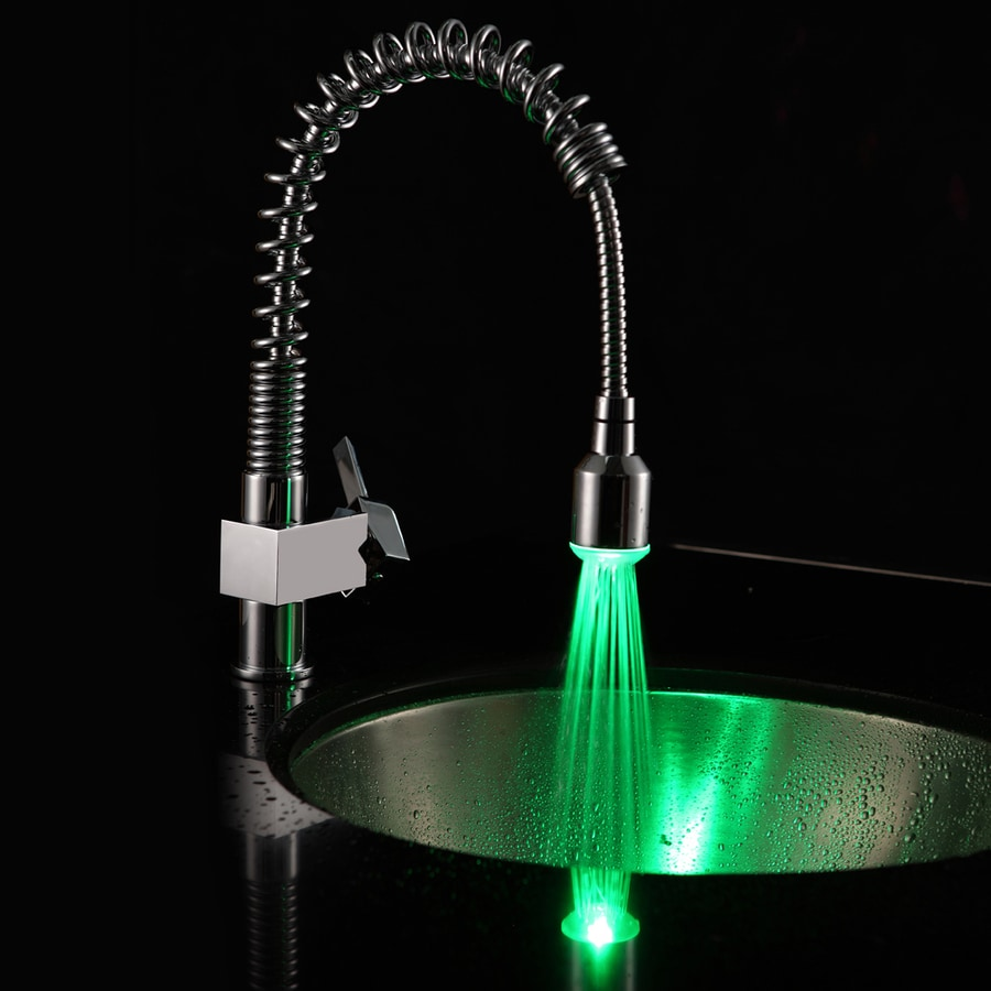 Changing A Kitchen Faucet Shop Sumerain Chrome 1 Handle Pull Down Color Changing Led Kitchen