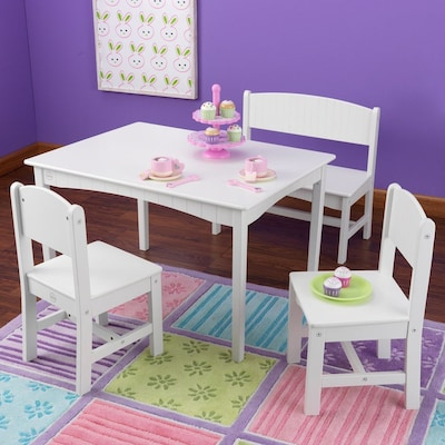 Wondrous Nantucket White Rectangular Kids Play Table With Bench And 2 Chairs Machost Co Dining Chair Design Ideas Machostcouk