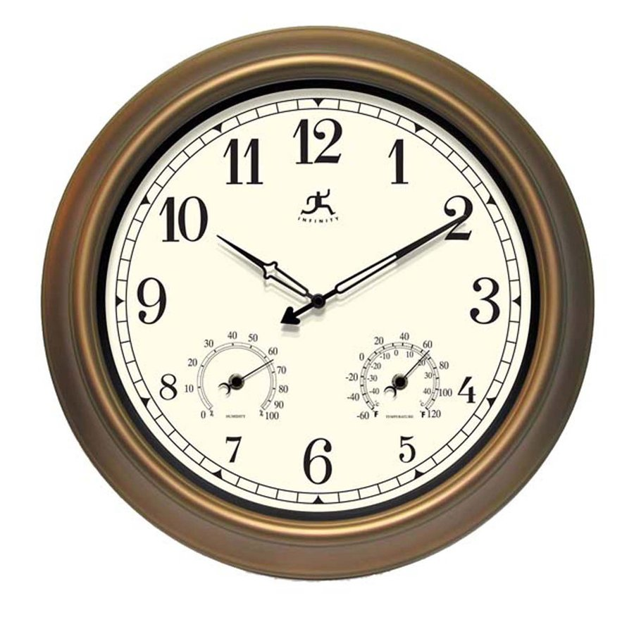 Infinity Instruments The Craftsman Analog Round Indoor/Outdoor Wall Standard Clock