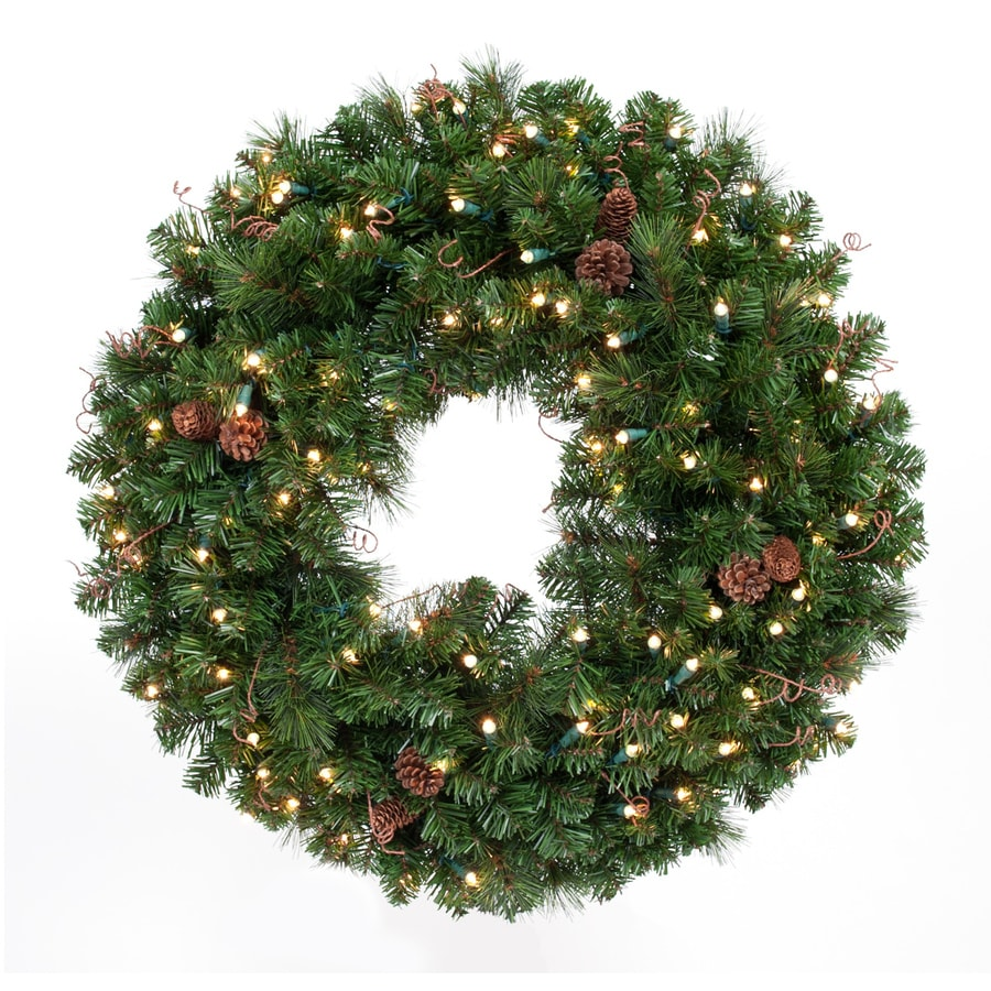 TreeKeeper 36-in Pre-lit Indoor/Outdoor Battery-operated Green/Brown Pine Artificial Christmas Wreath with White Clear Incandescent Lights